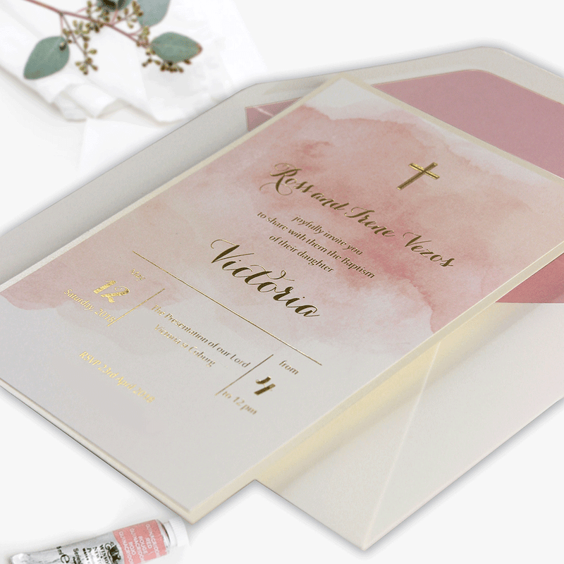 Pink Baby Announcement / Baby Shower / Christening  Marble effect and Gold Foil