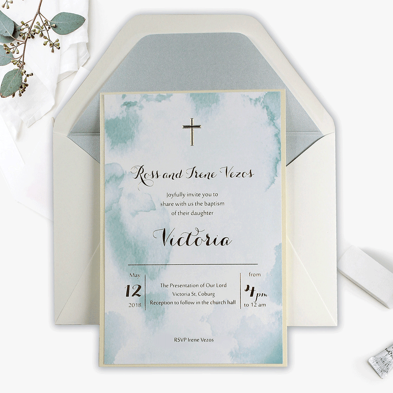 Blue Baby Announcement / Baby Shower / Christening  Marble effect and Gold Foil