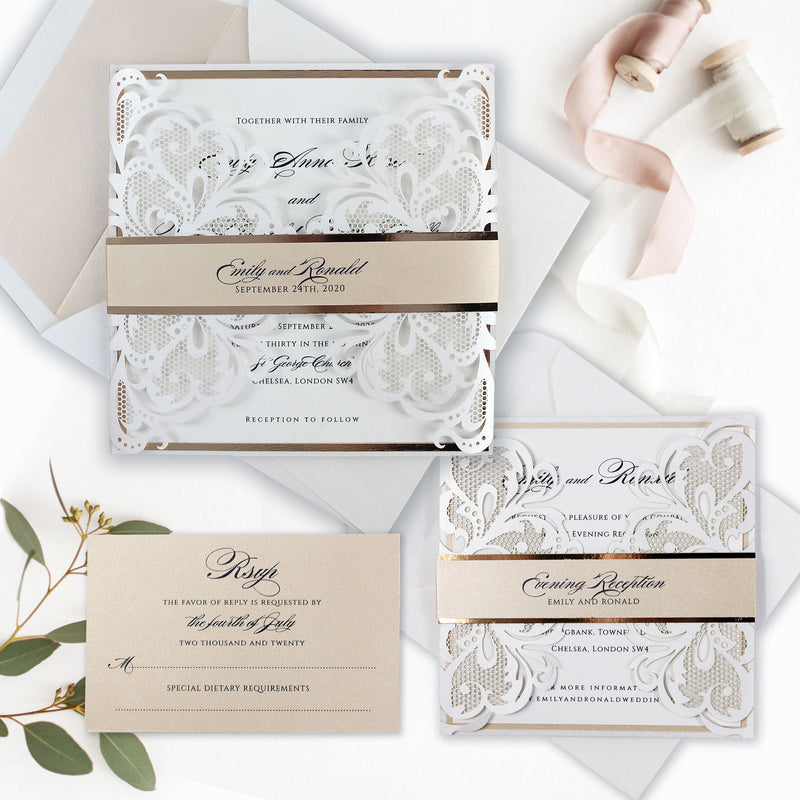 Rose Gold Foil Blush and White Laser Gatefold Evening Invitation.