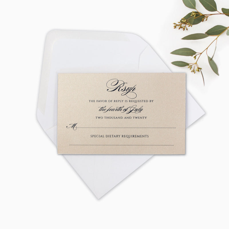 Rose Gold Foil Blush and White Classic - Rsvp Card