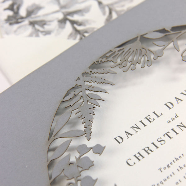 Grey Fern Royal Winter Wonderland , Laser Cut, Pocket,  Watercolour, Day Invitation Set