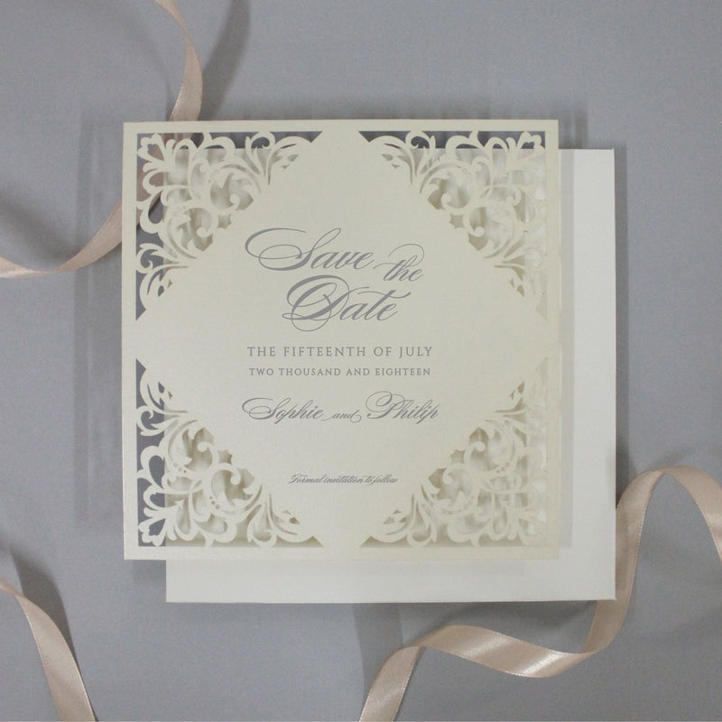 Champagne Laser Cut Lace Save the Date with Envelope