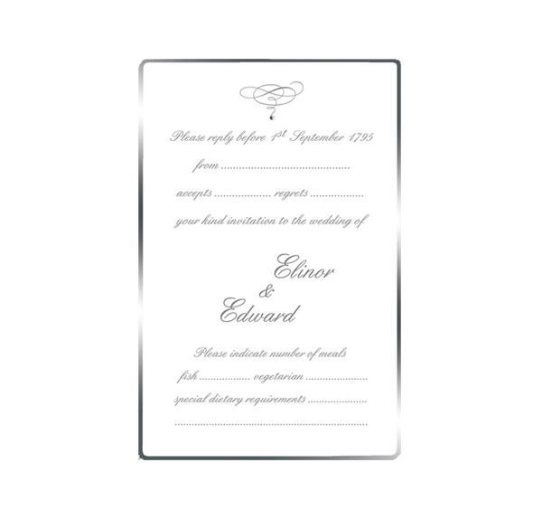 Silver Edge Save the Date / Thank You / Reply Card