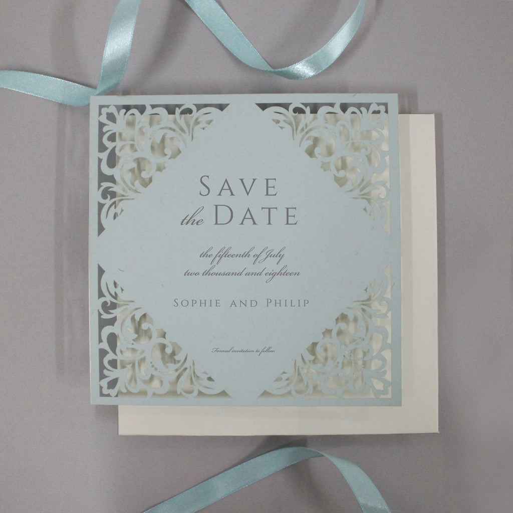 Dusty Blue Laser Cut Lace Save the Date with Envelope