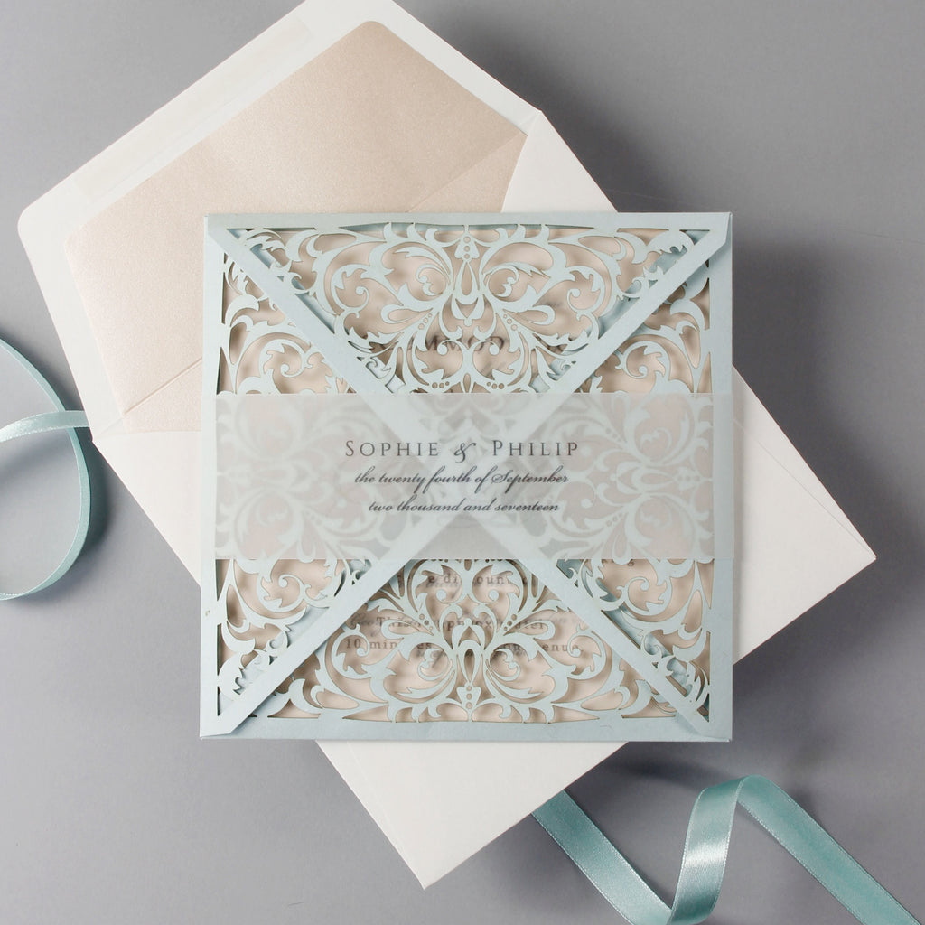 Dusty Blue and Rose Luxury Laser Cut Lace Pocketfold Wedding Invitation + Wedding Wish Set