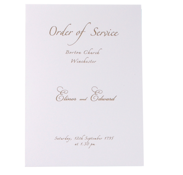 Gold Handmade Order of Service / Menu