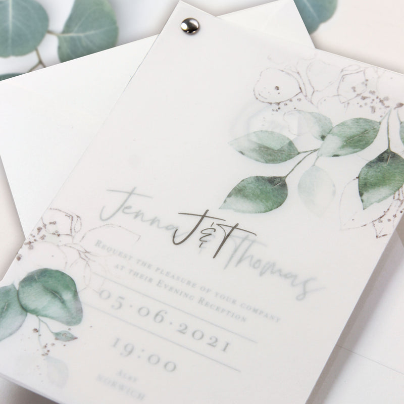 Vellum/ Parchment Layer and Silver Bolt Evening Invitation with Eucalyptus Silver Mirror Plexi Hexagon Tag