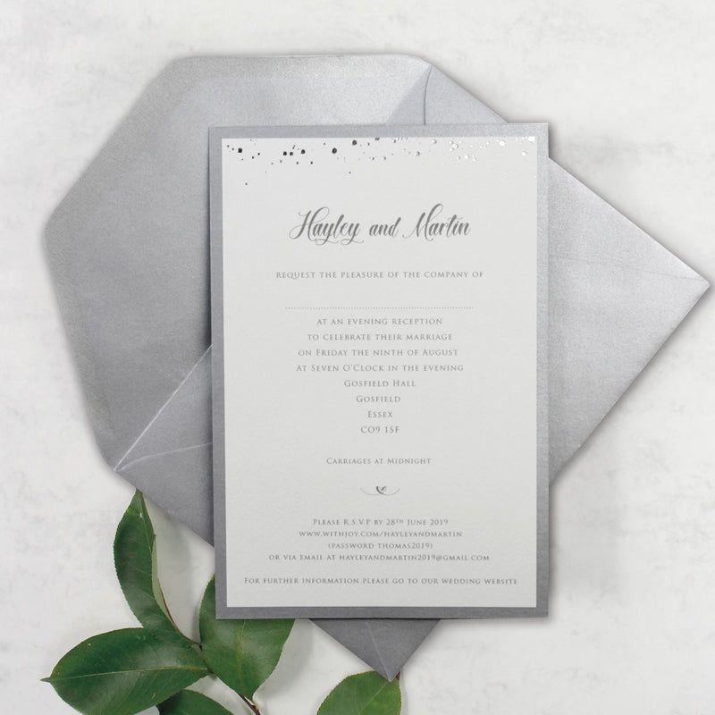 Silver Foil Confetti Dotted Evening Invitation with Monogram + Envelope