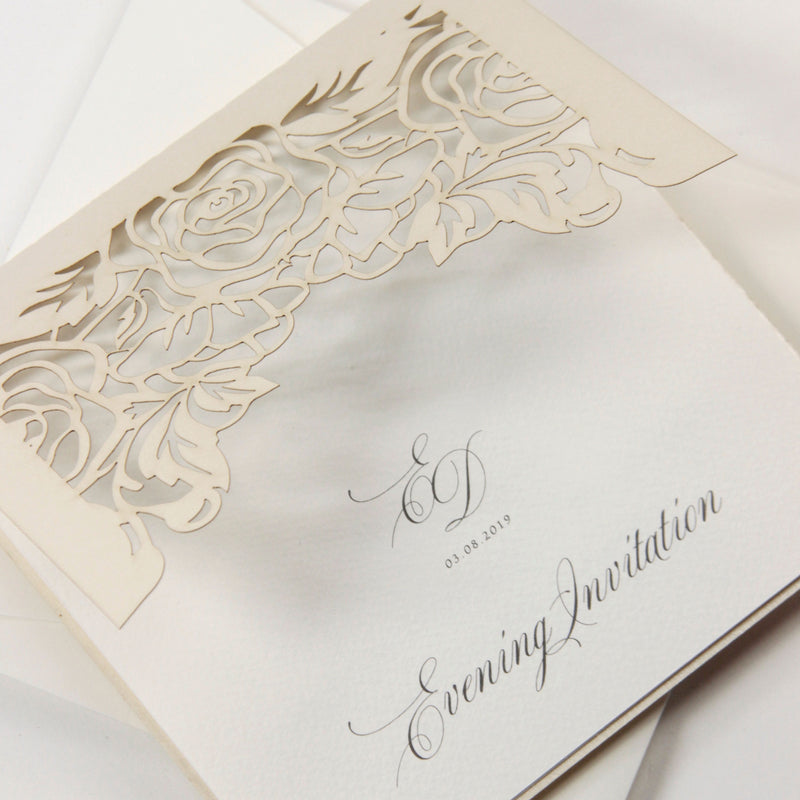 Classic Elegance Laser cut Evening Invitation in Cream and Champagne Metallic Colours