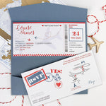 Wedding Passport Destination Boarding Pass Plane Ticket in Wrap Folder with Wooden Plane Tag Detail