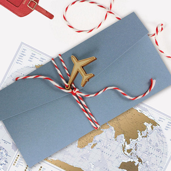 Destination Ticket in Wrap Folder with Wooden Plane Tag Detail