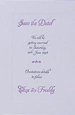 Embossed Letterpress Lilac Frame Save the Date Card