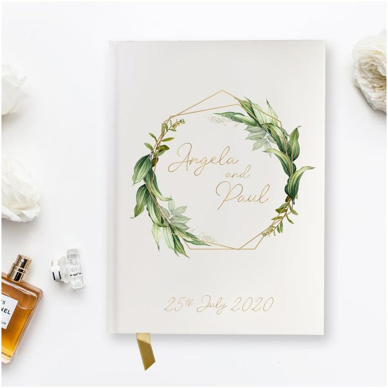 Hand Made & Personalised Paper Wedding Guest Book - Modern Calligraphy Boho Greenery