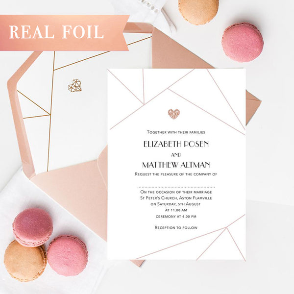 Architectural Geometric Lines with Rose Gold Foil Wedding Day Invitation