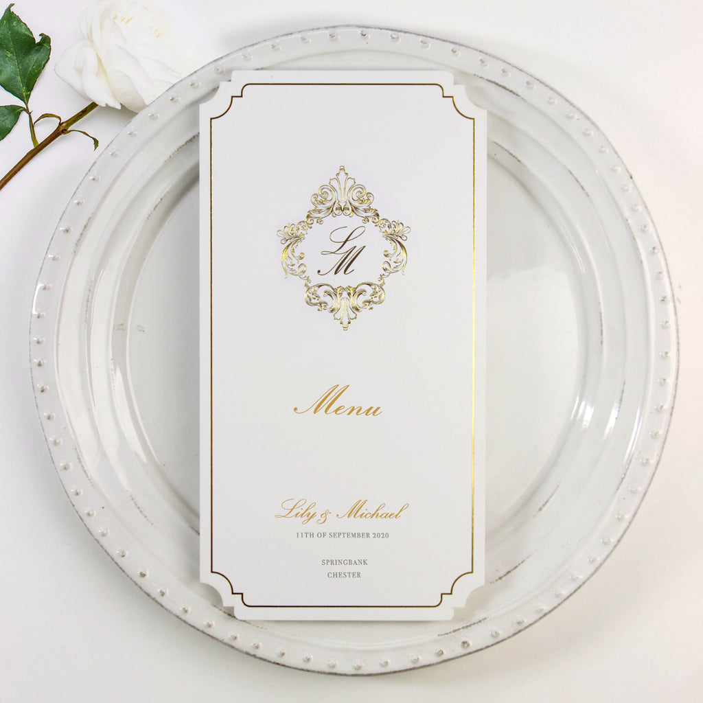 Plate Deckled Edge Luxury Gold Foil Menu