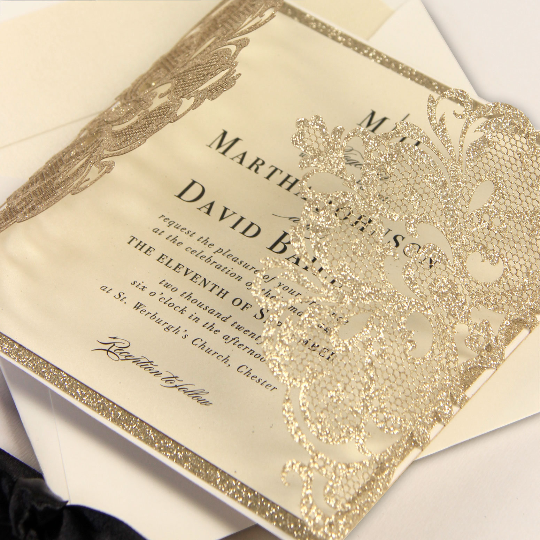 Sparkling Golden Glitter Gatefold Design with Belly Band