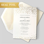 Shimmering White Wedding Day Invitation with Gold Foil Glitter Confetti