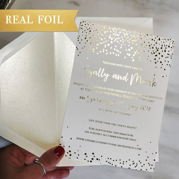 Elegant Foil Wedding Day Invitation with shimmering Confetti pattern + Envelopes