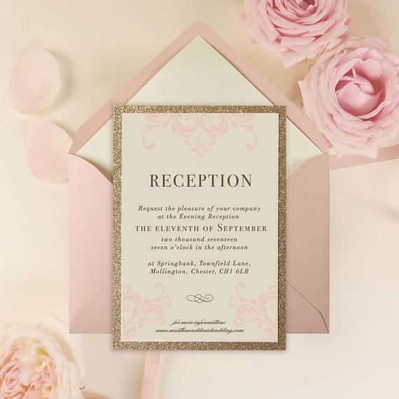 Rose Pink Opulence Luxury Invitation with Gold Glitter Evening Invitation