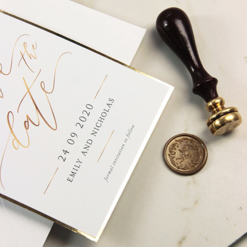 Gold Wax Seal Calligraphy Style Save the Date with Luxury Gold Foil Trim