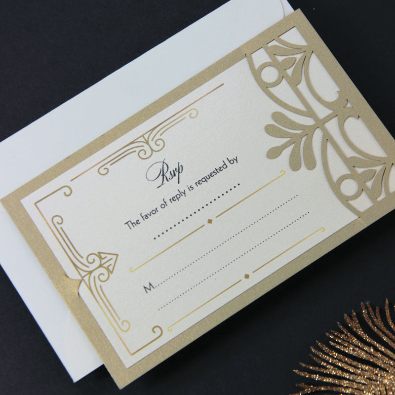 Golden Hollywood Lasercut Art Deco Great Gatsby Gatefold Wedding Reply Card, Rsvp