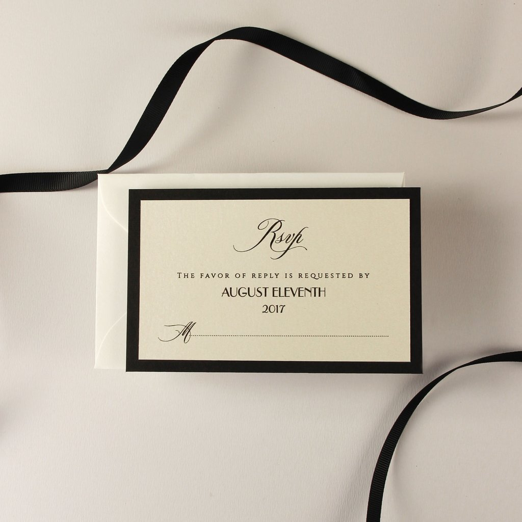 Art Deco Great Gatsby Luxury Black Tie RSVP / SAVE THE DATE / Extra Card with Envelope