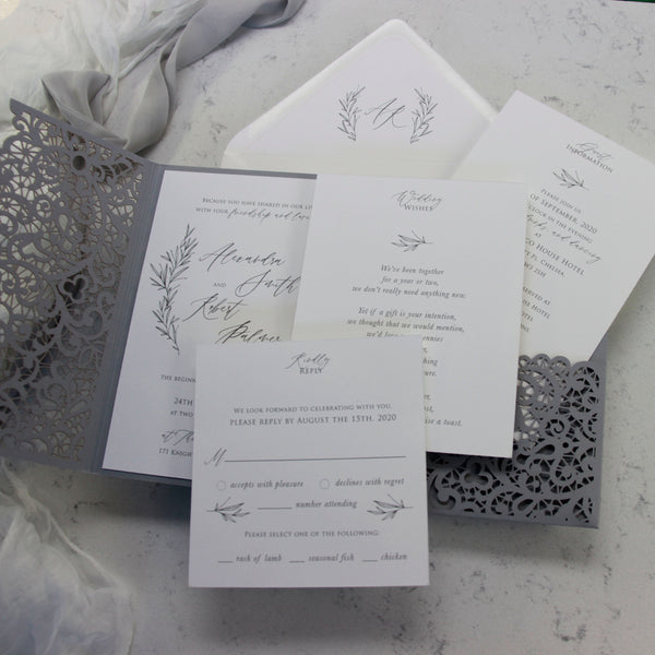 Intricate Ash Grey Laser Cut Pocket Fold Wedding Invitation Suite with 3 inserts and Monogramed Envelope Liner