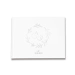 Monogram Circular Foliage Wreath Design Wedding Guestbook.