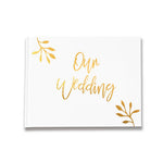 Our Wedding Foliage Design Silver, Gold and Rose Gold Foil Letterpress Alternative Custom Wedding Guestbook Rustic Guest Book Unique Wedding Guest Book