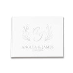 Monogram Wreath Silver,  Alternative Custom Wedding Guestbook Rustic Guest Book
