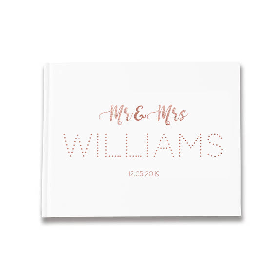 MR & MRS 'Surname' Design  Foil Wedding Guestbook Rustic Guest Book