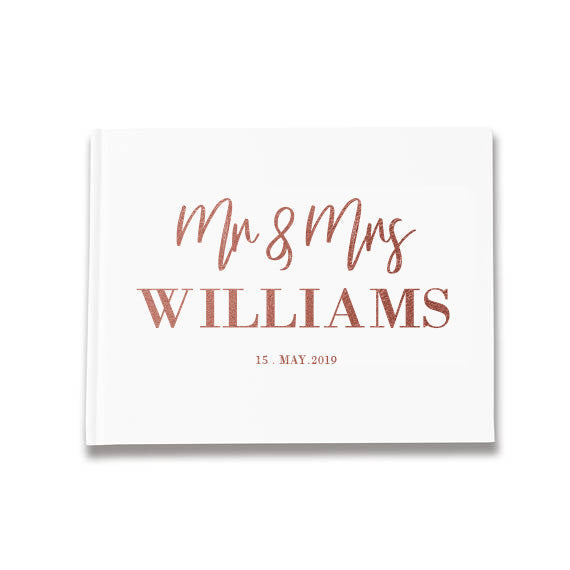 Mr & Mrs 'Surname' Personalised Design Silver, Gold and Rose Gold Foil Letterpress Alternative Custom Wedding Guestbook Rustic Guest Book