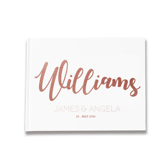 Large Surname Personal Design Silver, Gold and Rose Gold Foil Letterpress Alternative Custom Wedding Guestbook