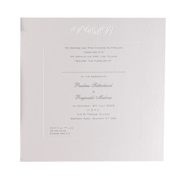 Luxury Embossed Metallic White Evening Invitation With Foil Print