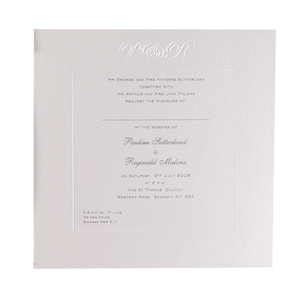Luxury Embossed Metallic White Evening Invitation With Raised Ink