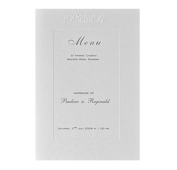 Luxury Embossed Metallic White Order of Service / Menu