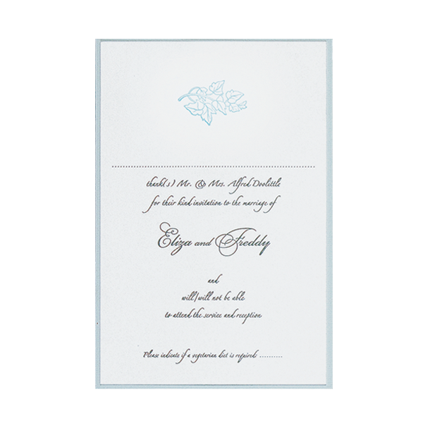 Blue Satin Classic Wedding Reply Card, Rsvp