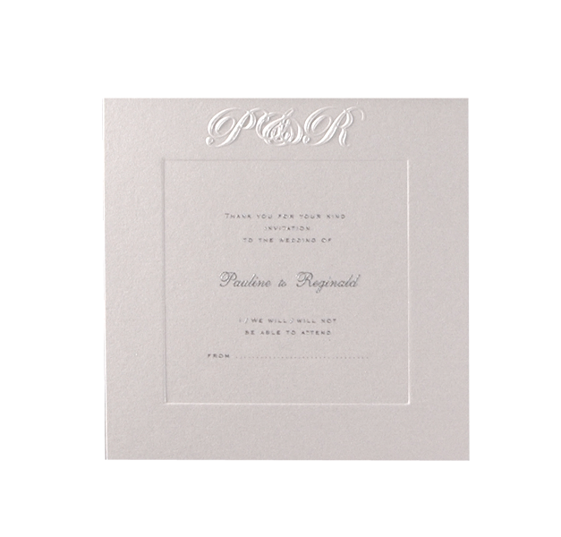 Luxury Embossed Metallic White Save the Date / Thank You / Reply Card With Foil and Sunk Border