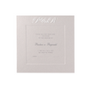 Luxury Embossed Metallic White Save the Date / Thank You / Reply Card With Raised Ink and Sunk Border