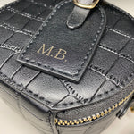 Classic Black : Personalised Monogram and Message Cross Shoulder Bag