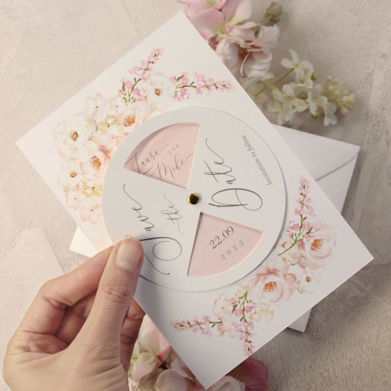 Blush Interactive ↻ Pivot Save the Date Card Circle - Bolt Watercolour Florals