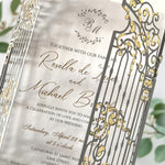 Monogram Ornamental Gate Laser Cut Wedding Day Invitation with Gold Foil Modern Calligraphy