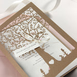 KRAFT Eco Wedding Intricate Tree with Ribbon and Tag Laser cut Invitation