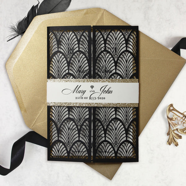 Luxury Glittering Art Deco 20s Gatsby Gate Laser Cut Gatefold Wedding Day Invitation with Gold envelopes