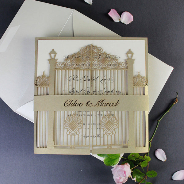 Classic wedding invitations cartalia romantic ornamental gate laser cut wedding invitation set with rsvp and personalised belly band stopboris Image collections