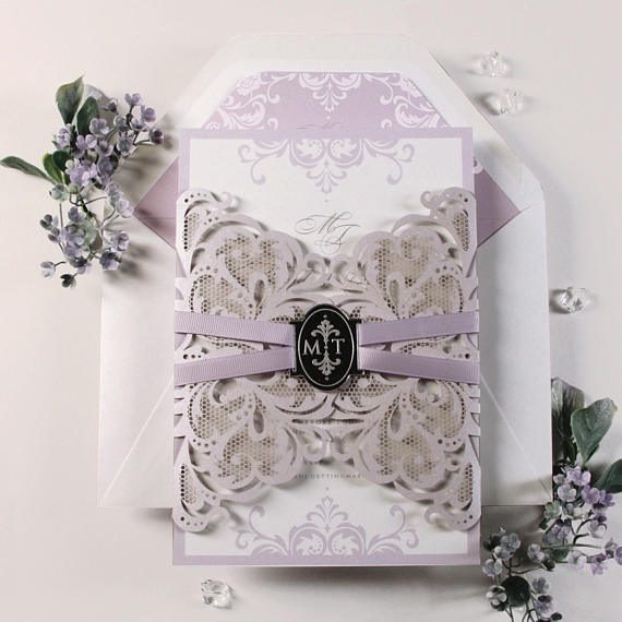 Personalised Lavender Lilac Purple Laser Cut Wedding Invitations with Mirrored Personalised Tag and Free Envelope + Envelope Liner
