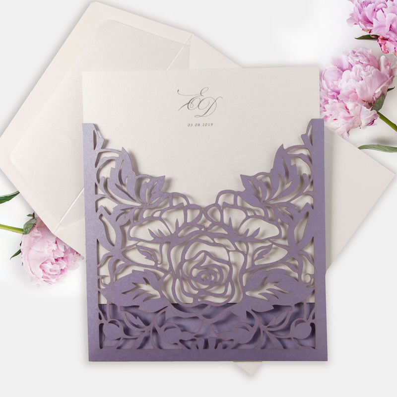 Periwinkle Laser cut Pull out folder in Lilac Purple with Matching Envelope and Liner
