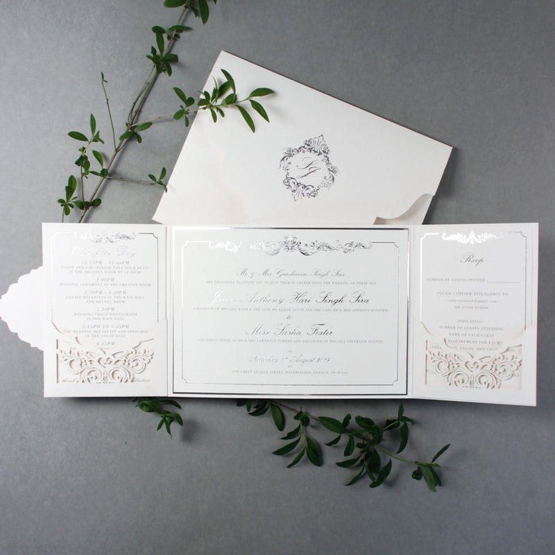 SAMPLE Luxury Gold Foil Invitation pocket fold suite for Wedding Day, Rsvp, Info Card with Laser Cut pocket, Calligraphy Script