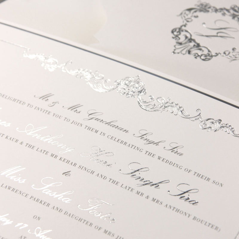 Luxury Gold Foil Invitation pocket fold suite for Wedding Day, Rsvp, Info Card with Laser Cut pocket, Calligraphy Script