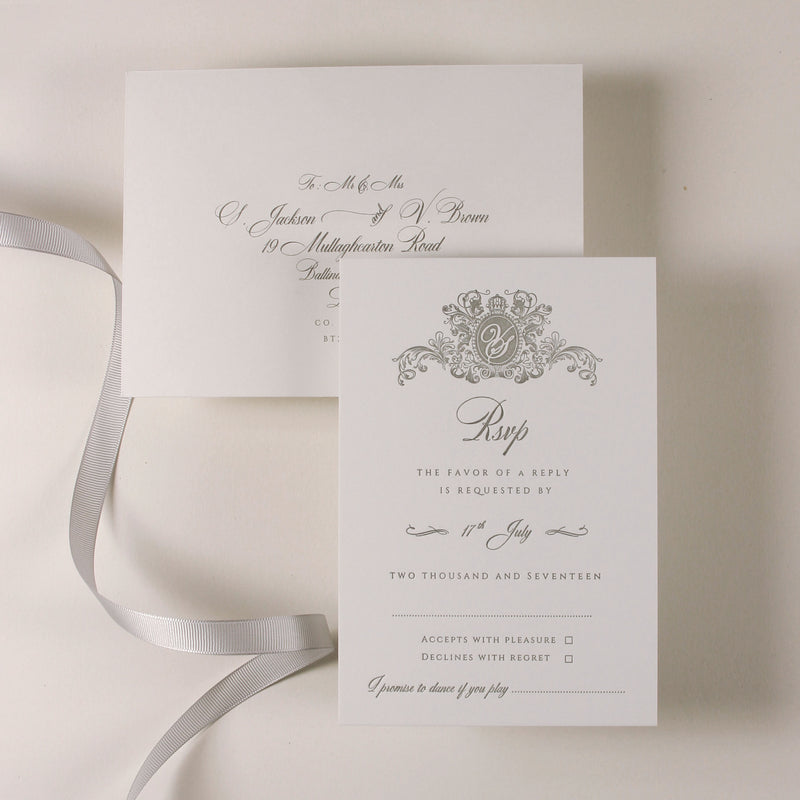 Letterpress Open Folder Pocket Invitation Suite with Mirror Tag and Bow Tied Ribbon